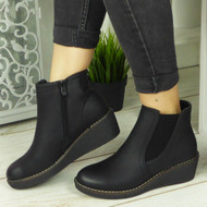BRINLEY Black Chelsea Ankle Shoes