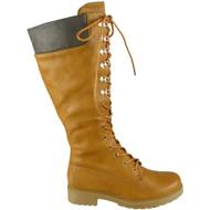Mallory Camel PU Combat Mid Calf Boots