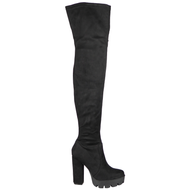 Viviana Black Zip Block Heel Thigh High Boots