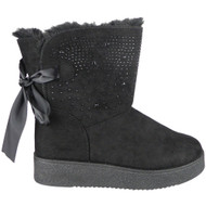Remy Black Diamante Pull On Comfy Snow Shoes