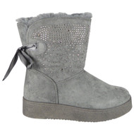 Remy Grey Diamante Pull On Comfy Snow Shoes
