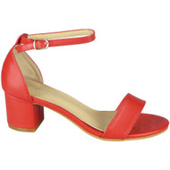 Mikaela Red Peep Toe Bridal Buckle Sandals