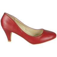 Antonella Red Slip On Mid Kitten Shoes
