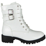 Emory White Zip Chunky Heel Combat Shoes