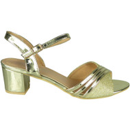 Maia Gold Mid Heel Party Bridal Shoes