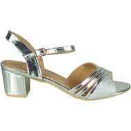 Maia Silver Mid Heel Party Bridal Shoes