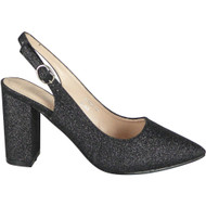 Simone Black Slingback Glitter Heel Shoes
