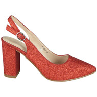 Simone Red Slingback Glitter Heel Shoes