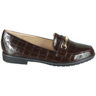 Kennedi Brown Slip On Croc Office Loafers shoes