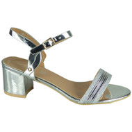 Zariah Silver Mid Heel Party Bridal Shoes