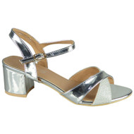 Selah Silver Mid Heel Party Large Shoes