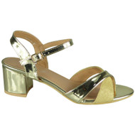 Selah Gold Mid Heel Party Large Shoes