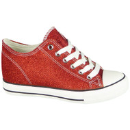 Wynter Red Glitters Lace Up Classic Wedges Shoes