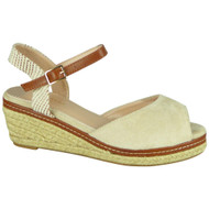 Reign Beige Hessian Platform Wedges Shoes