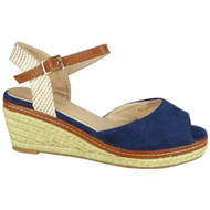 Reign Blue Hessian Platform Wedges Shoes