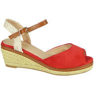 Reign Red Hessian Platform Wedges Shoes