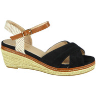 Ivanna Black Peep Toe Platform Wedges Shoes