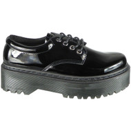 Zaylee Black Patent Lace Up Goth Punk Shoes