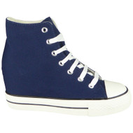 Siena Blue Hi Top Lace Up  Wedges Shoes