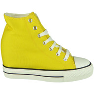 Siena Yellow Hi Top Lace Up  Wedges Shoes