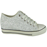 Kyra Silver Glitter Lace Up  Hidden Heel Shoes