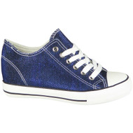 Wynter Navy Glitters Lace Up Classic Wedges Shoes