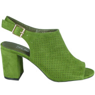 Fernanda Green Peep Toe Slingback High Heel Shoes