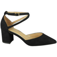 Yaretzi Black Buckle  Mid  Heel Party Shoes