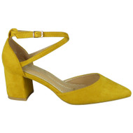 Yaretzi Yellow Buckle  Mid  Heel Party Shoes