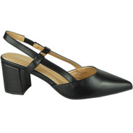 Jazlyn Black Elastic Strap Mid Heel Shoes