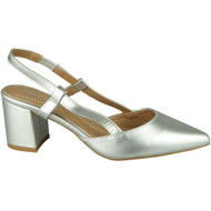 Jazlyn Silver Elastic Strap Mid Heel Shoes
