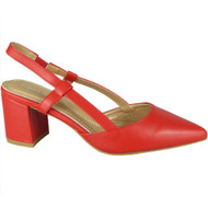 Jazlyn Red Elastic Strap Mid Heel Shoes