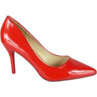 Gemma Red Slip On High Heel Court Shoes