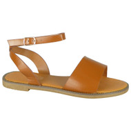 Jayla Camel Ankle Strap Flat Gladiator Shoes