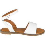 Jayla White Ankle Strap Flat Gladiator Shoes