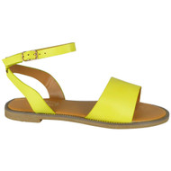 Jayla Yellow Ankle Strap Flat Gladiator Shoes