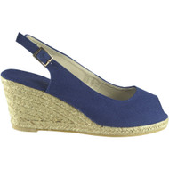 Justice Navy Slingback Wedge Espadrilles Shoes