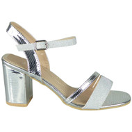 Kamryn Silver Peep Toe High Heel Party Shoes