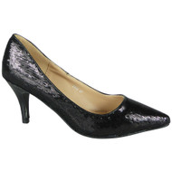 Alexia Black Sequins Slip On High Heel Shoes
