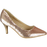 Alexia Champagne Sequins Slip On High Heel Shoes