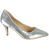 Alexia Silver Sequins Slip On High Heel Shoes