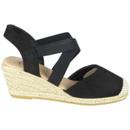 Baylee Black Hessian Slingback Strappy Shoes