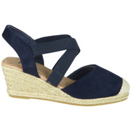 Baylee Navy Hessian Slingback Strappy Shoes