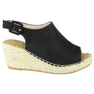 Amalia Black Espadrilles Slingback Wedge Shoes