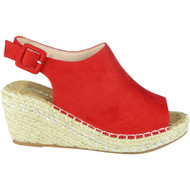Amalia Red Espadrilles Slingback Wedge Shoes