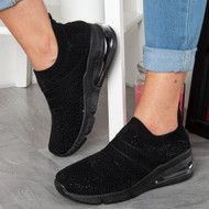KARINA Black Diamante Trainers