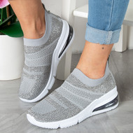 KARINA Grey Diamante Trainers
