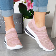KARINA Pink Diamante Trainers