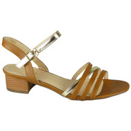 Braelyn Camel Peeptoe Strappy Buckle Shoes