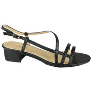 Reina Black Peeptoe Strappy Buckle Bridal Shoes